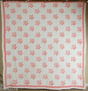 Large 30 S Vintage Baskets Antique Quilt Small Scale Great Quilting