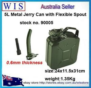 5l Metal Jerry Can Fuel Engine Diesel Petrol Oil Storage Container Spout 90005