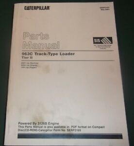 Cat Caterpillar 963c Track Loader Tier Ii Parts Book Manual S n Bbd1 up Sebp3169