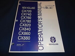 Ford New Holland Cx720 880 Combine Operation Maintenance Manual Book