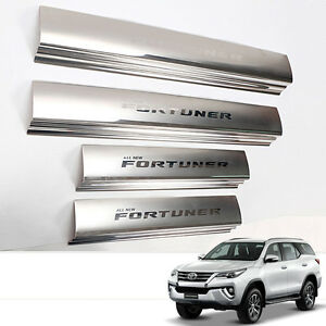 Fit 2015 Toyota Fortuner Sills Scuff Step Plate Panel Chrome Stainless Steel
