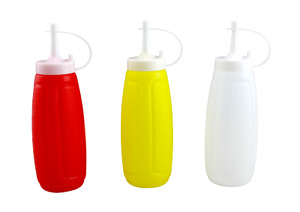 3 Piece Plastic Squeeze Mustard Ketchup Mayo Salad Dressing Condiment Set