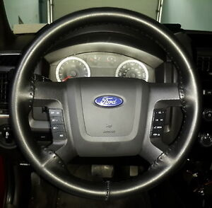 Black Genuine Leather Steering Wheel Cover For Ford Wheelskins Size C