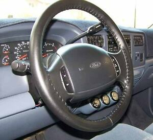 Charcoal Genuine Leather Steering Wheel Cover For Ford Wheelskins Size C