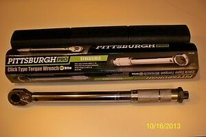 new Pittsburgh Pro 3 8 Drive Click Type Torque Wrench With Hard Case