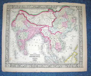 Origial 1860 Mitchell Map Of Hindoostan Farther India China Tibet 12 5 X 15 25