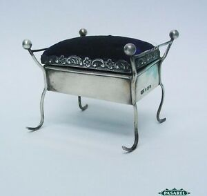 Novelty Sterling Silver Piano Stool Pin Cushion By Clark Sewell England 1909