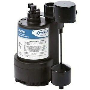 Proflo Pf92342 1 3 Hp Thermoplastic Sump Pump W Vertical Float Switch