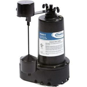 Proflo Pf92511 1 2 Hp Cast Iron Submersible Sump Pump W Vertical Float Switch