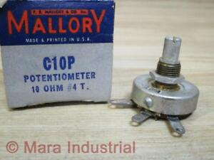 Mallory C10p Potentiometer 10 Ohms 4t pack Of 3