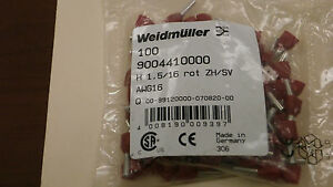 Weidmuller 9004410000 New Red Wire End Ferrules 16 Awg
