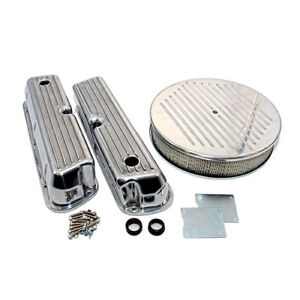 Ford 289 302 351w Finned Retro Aluminum Valve Covers Ball Milled Air Cleaner