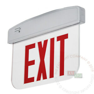 Red Led Exit Light Sign Edge Lit Decorative Silver Fire Emergency Ul Elsmp2r