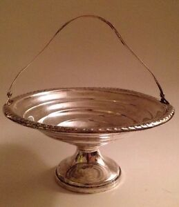 Antique Sterling Silver Pierced Handle Basket Approximately 5 Across