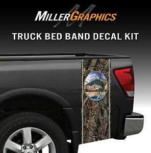 Bass Jumping Fishing Camo Truck Bed Band Decal Graphic Sticker Kit