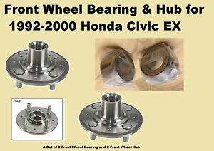 1992 1993 1994 2000 Honda Civic Ex Front Wheel Bearing And Hub With Abs pair