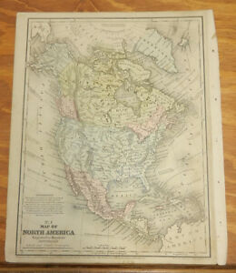 1852 Mitchell Color Map North America B W The Hemispheres