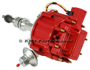 Sbf Ford 351w Windsor Red Cap Drop In One Wire Hei Distributor W 65kv Coil