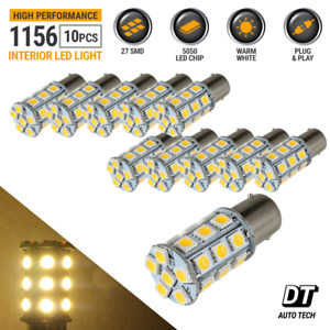 10x Warm White 1156 1141 1003led Rv Camper Trailer Interior Light Bulbs 27 Smd