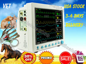 Vet Veterinary Patient Monitor 6 Parameter ecg nibp pr spo2 temp resp ce fda