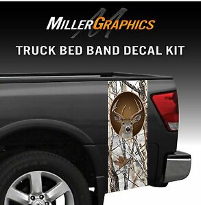 Whitetail Buck Deer Snowstorm Hunting Camo Truck Bed Band Decal Graphic