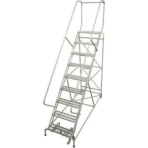 Cotterman Rolling Steel Ladder 450 Lb Cap 9 Step Ladder 24inlx10inwx90inh