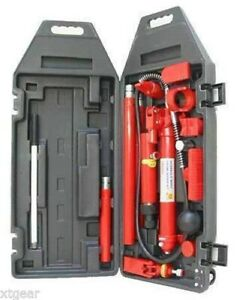10 Ton Porta Power Hydraulic Jack Body Frame Repair Kit Auto Shop 2 Wheels Lift