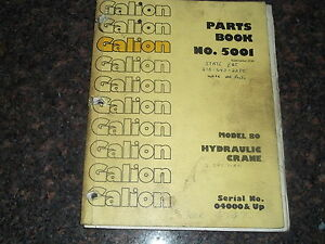 Galion Model 80 Hydraulic Crane Parts Book Manual