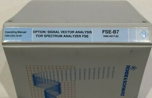 R s Vector Signal Analyzer Option Fse b7 Operating Manual P n 1066 4323 19 04
