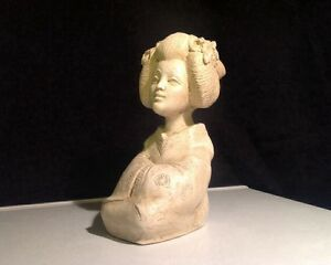 Fine Signed Japanese Carved Figure Statue Lady Geisha Bust Carved Stone