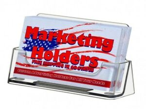 50 Clear Acrylic Ridged Business Card Holder Display Stand Usa