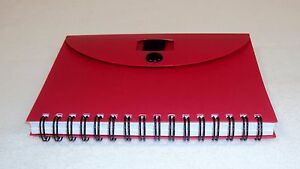 Po822 Red Pocket Journal Case Lot 100 Units Wire Bound Snap Pen Loop