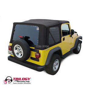 Jeep Wrangler Tj Soft Top 2003 2006 Tinted Windows Black Twill Vinyl