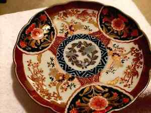 Antique Hand Painted Japanese Imari Porcelain Plate Bowl