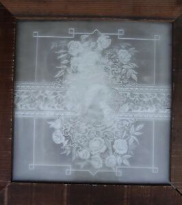 Victorian Antique Vintage Etched Glass Window Circa 1890