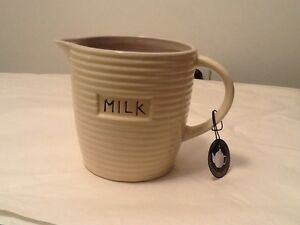 old pottery company quot;milkquot; spouted handled jug nwt country shabby farm