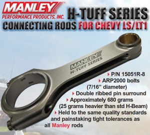 Manley 6 125 Length H Tuff Connecting Rod Arp 2000 Bolts For Chevy Ls 15051r 8