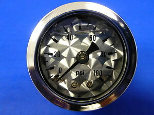 Marshall Gauge 0 100 Psi Fuel Pressure Oil Pressure Engine Turne 1 5 Face Liquid