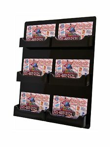 Lot Of 24 Black 6 Pocket Acrylic Wall Mount Business Card Holder Hanging Rack