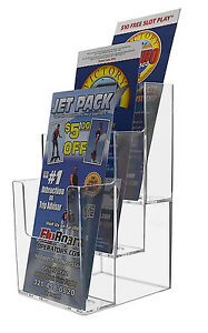 3 Pocket Tiered Brochure Holder For 4 w Literature Lot Of 24 Wholesale Clear