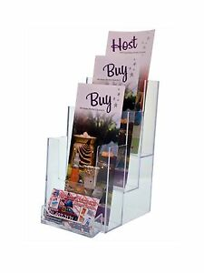 Lot Of 12 Clear 4 3 tier Tri fold Brochure Holder With Attached Card Holder