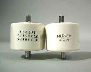 Murata 406 Doorknob Capacitor 1000 Pf Free Shipping Used Lot Of 2 Pcs