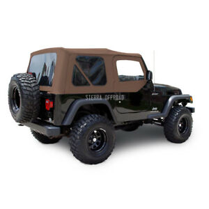 Jeep Wrangler Tj Soft Top 03 06 Upper Doors Tinted Windows Saddle Sailcloth