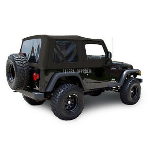 Jeep Wrangler Tj Soft Top 2003 06 Tinted Windows Upper Doors Black Sailcloth