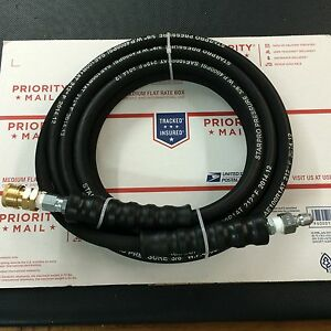 Pressure Washer Hose 25ft W Couplers 4000 Psi Black Wire Braid