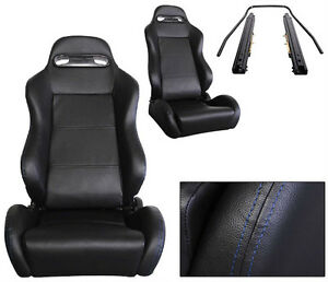 New 2 Black Leather Blue Stitch Racing Seats Reclinable W Slider All Bmw