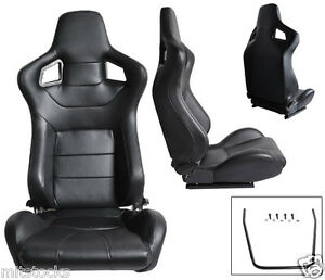 New 2 Black Pvc Leather Racing Seats Slider Reclinable All Buick