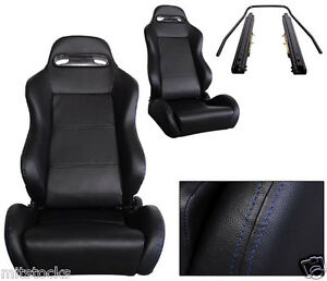 2 Black Leather Blue Stitch Racing Seats Reclinable Sliders Volkswagen New
