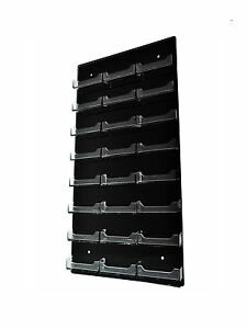 Lot Of 24 Black 24 Pocket Clear Business Card Holder Acrylic Vertical Wall Mount