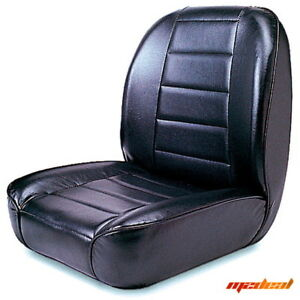 Rugged Ridge 13400 01 Low Back Front Bucket Seat Non recline Black 55 86 Jeep Cj